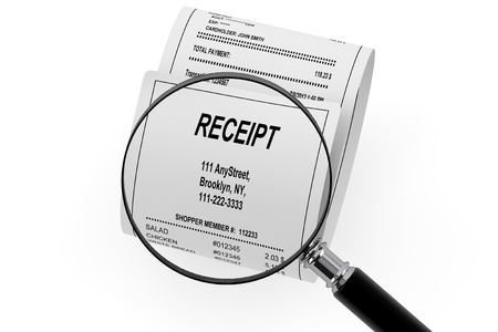Magnifying glass & Receipt on the white background photo