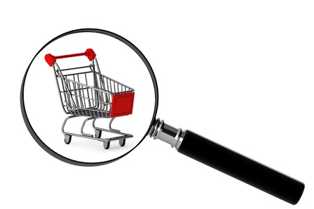 consumer rights: Magnifying glass & shopping trolley on the white background