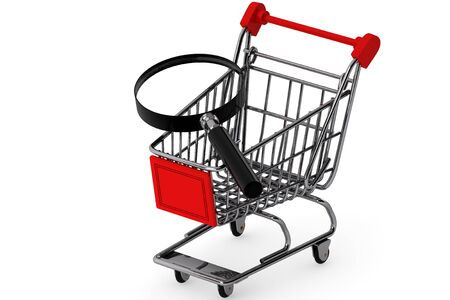 Magnifying glass & shopping trolley on the white background photo