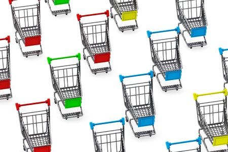 Many Shopping carts on a white background photo