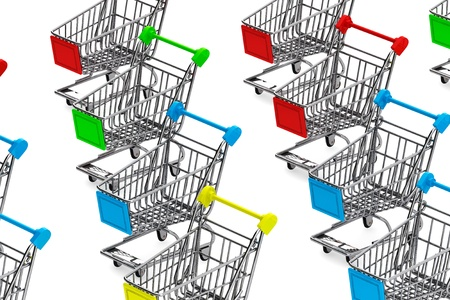 Many Shopping carts on a white background photo