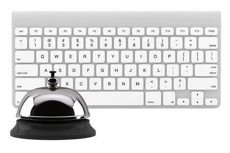Service Bell ring with keyboard on the white background photo