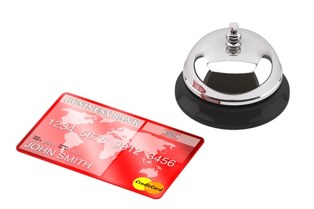 Service bell with Credit Card on a white background photo
