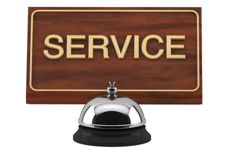 Service Bell with Service Sign Plate on a white background photo