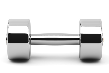 kg: Closeup 2 kg Steel Dumbbells on a white background Stock Photo