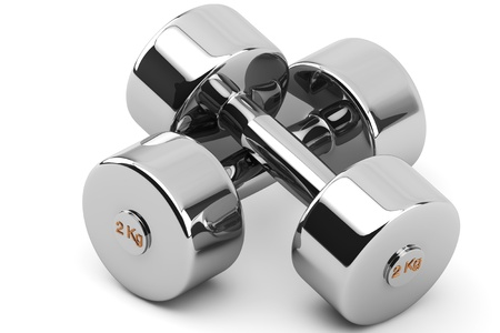 Closeup 2 kg Steel Dumbbells on a white background Stock Photo