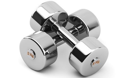 Closeup 2 kg Steel Dumbbells on a white background 版權商用圖片
