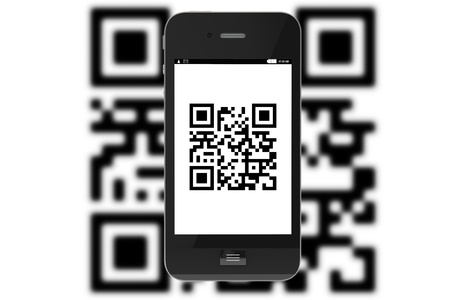 upcode: Modern Mobile phone with QR Code on a white background. Stock Photo