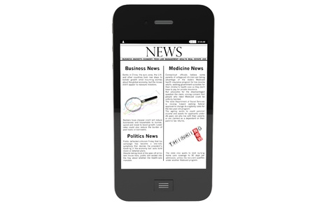 Modern Mobile phone with News on a white background. photo