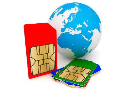 Set of color SIM cards with earth on a white background
