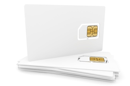 Blank sim cards on a white background photo