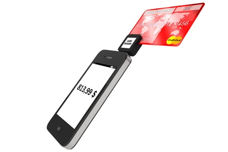 readers: Modern Mobile phone with Credit Card on a white background. Stock Photo