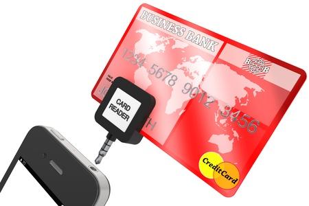 現代の携帯電話のクレジット カードと白い背景の上。 写真素材