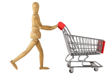 Wooden dummy with Shopping Cart on a white background