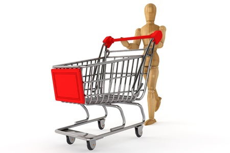 layman: Wooden dummy with Shopping Cart on a white background