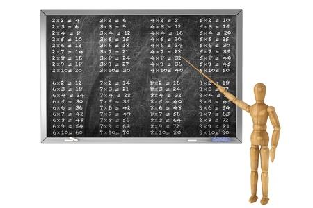 Multiplication table handwritten with wooden dummy chalk on a school blackboard photo