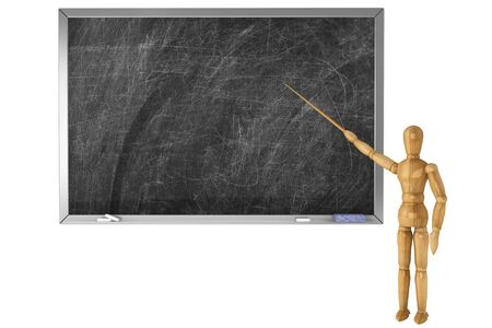 Wooden Dummy with school blackboard on a white background photo