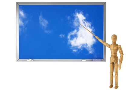 Wooden Dummy with sky school blackboard on a white background photo