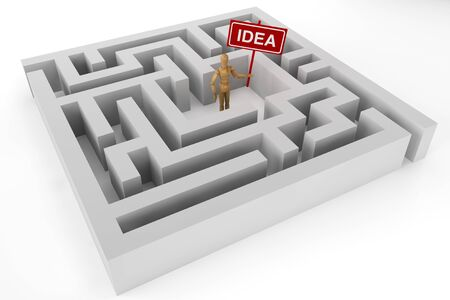 Wooden dummy with Idea sign in labyrinth photo