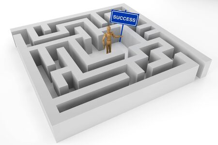 Wooden dummy with Success sign in labyrinth photo