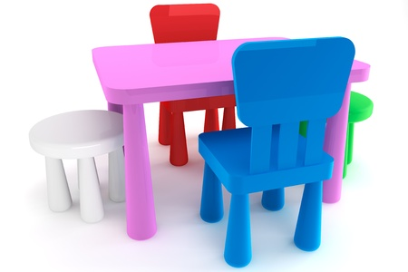 Bon Colorful Plastic Kid Chairs And Table On A White Background Stock Photo    14601184
