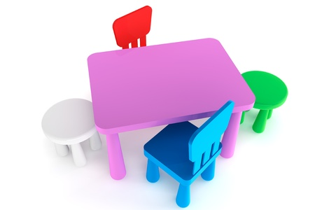 Charmant Colorful Plastic Kid Chairs And Table On A White Background Stock Photo    14601135