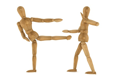 Wooden Dummies in Sparring on a white background photo