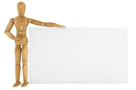 Wooden dummy with blank paper business card, copy space for your text  photo