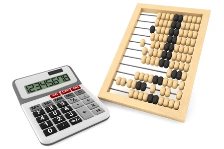 Vintage wooden abacus and calculator on a white background  photo