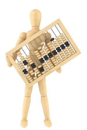 Retro abacus with wooden dummy on a white background  photo