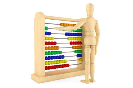 Toy abacus with wooden dummy on a white background  photo