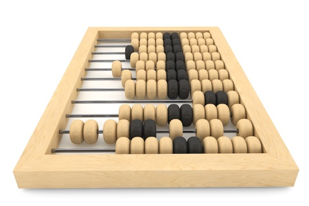 Vintage wooden abacus on a white background  版權商用圖片