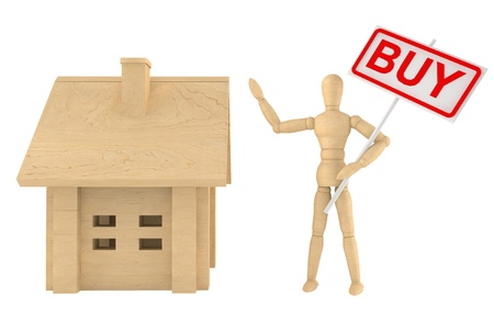 Dummy with wooden home on a white background with buy banner photo