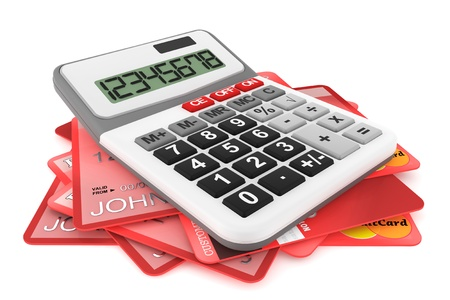 Calculator with Credit Cards on a white background Stock Photo - 14855191