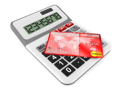 Calculator with Credit Cards on a white background Stock Photo - 14855152
