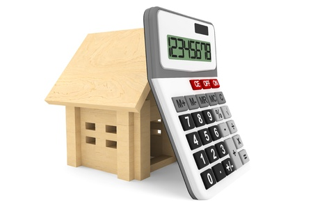 taxes budgeting: Wooden House with Calculatoron a white background  Stock Photo