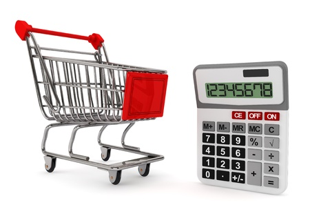 sopping: Sopping Cart with Calculator on a white background  Stock Photo