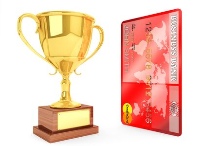 Best Credit concept. Champion gold cup trophy with credit card on a white background photo