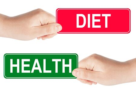 Diet and Health traffic sign in the hand on the white background photo