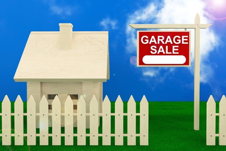 Garage Sale Banner Sign with Beautiful Wooden House photo