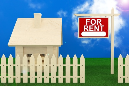 for rent: Home For Rent Sign with Beautiful Wooden House Stock Photo