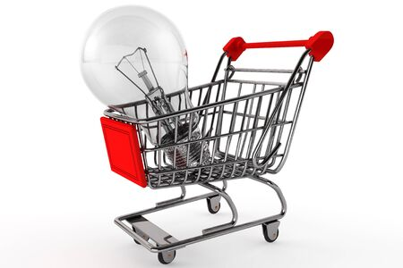 Buy the Light concept. Shopping Cart with Bulbon a white background photo