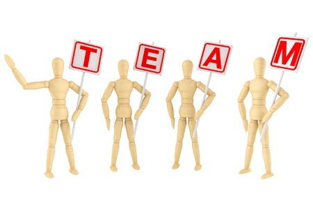 wooden figure: Teamwork Concept. Wooden mannequin with Team Banner on a white background