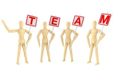 wooden mannequin: Teamwork Concept. Wooden mannequin with Team Banner on a white background