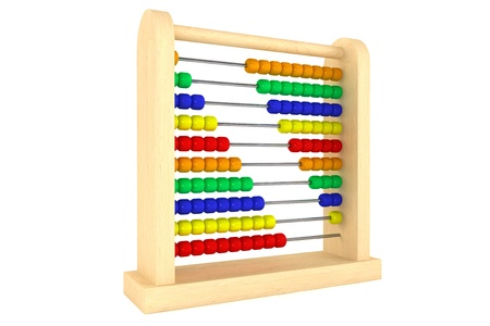 Toy abacus with rainbow colored beads on a white background  photo