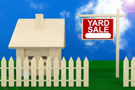 Yard Sale Banner Sign with Beautiful Wooden House photo