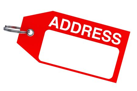Red Address tag with blank space on a white background photo