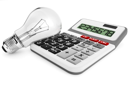 Light bulb with calculator on a white background photo