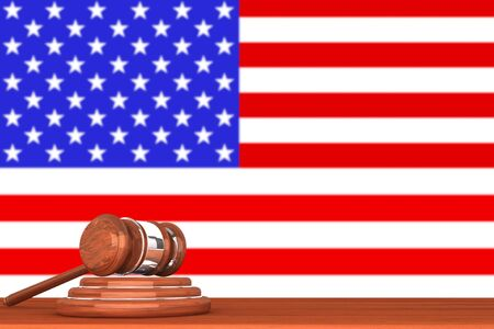 Wooden Justice Gavel with Flag Of America Stock Photo - 14895892