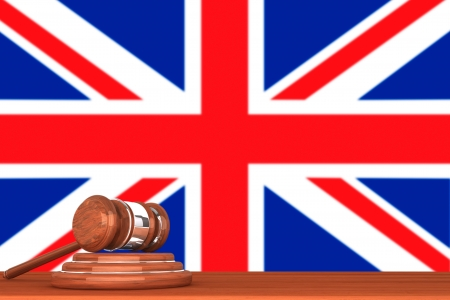 Wooden Justice Gavel with Flag Of England Stock Photo - 14895885